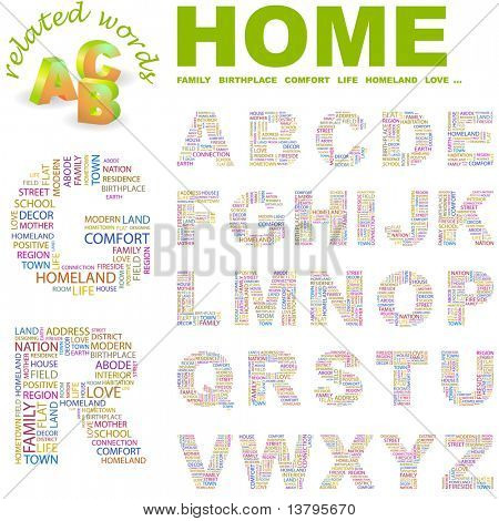 HOME. Alphabet for design. Illustration with different association terms.