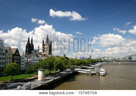River Rhine and cathedral of Cologne, Germany