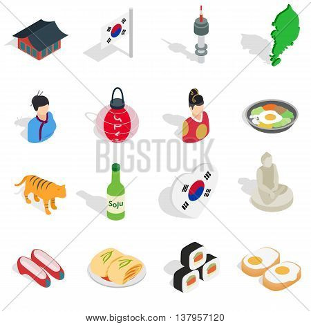 Republic Of Korea icons set in isometric 3d ctyle. South Korea set collection vector illustration