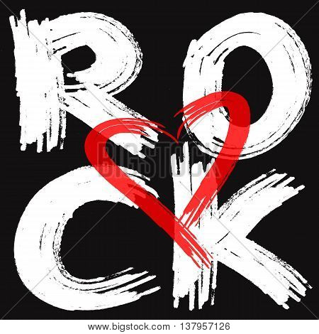 White text Rock red silhouette of heart black background. Illustration rough brush. Abstract poster. Transparency.
