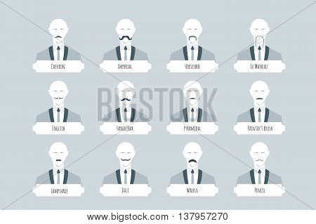 Top 12 types of mustache styles, shape, density, and styling. Old fashioned flat vector avatars with abstract whiskered people in solid suit.