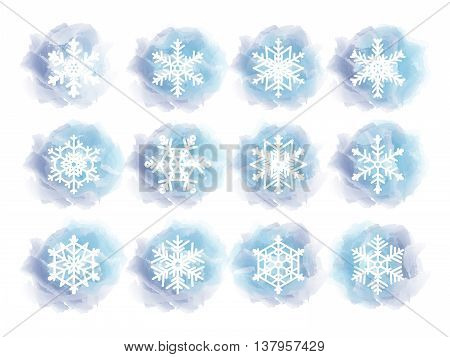 White snowflakes on frozen background. set of icons for winter design
