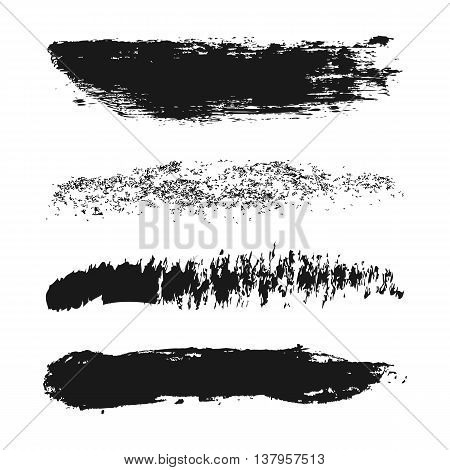 Vector set of different strokes of brushes. Ink spray ragged rough. Grunge. Four isolated element.