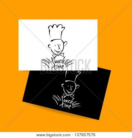 CHEF-COOK with handwritten lettering LUNCH TIME. Hand drawing chef-cook, handmade text lunch-time.Concept card design for restaurant, cafe, Vector Illustration.