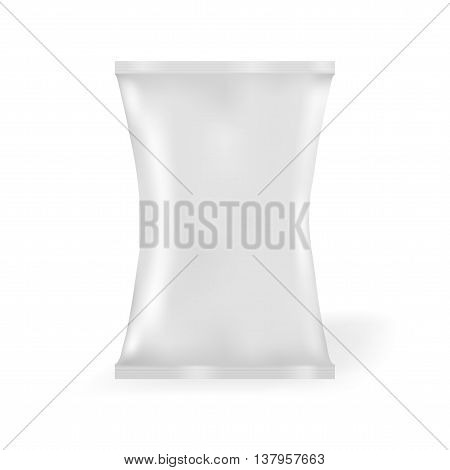 White Blank Foil Food Snack Sachet Bag Packaging For Coffee Salt Sugar Pepper Spices Sachet Sweets Chips Cookies. Illustration Isolated. Mock Up Template Ready For Your Design.