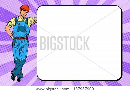 Male Builder next to the poster pop art retro vector, realistic hand drawn illustration.
