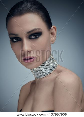 Glamour Model In Necklace Of Swarovski Crystals