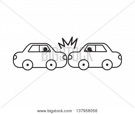 Car accident vector line easy design .
