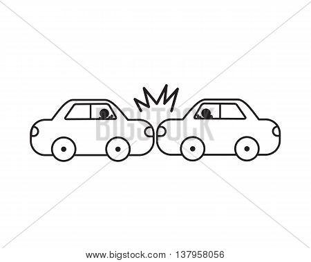 Car accident vector line easy design .