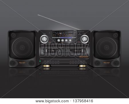 Vintage tape recorder for audio cassettes with radio. Boombox vector illustration.