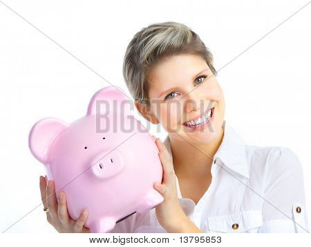 Young woman with a piggy bank. Isolated over white background
