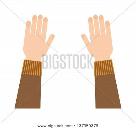 Flat human hands isolated creativity concept. Hands fingers symbol isolated, flat style hands working. Touch vector human hand drawn elements. People body parts