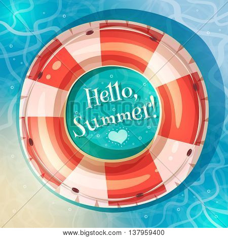 Summer holidays poster. Retro cartoon style. Vector illustartion