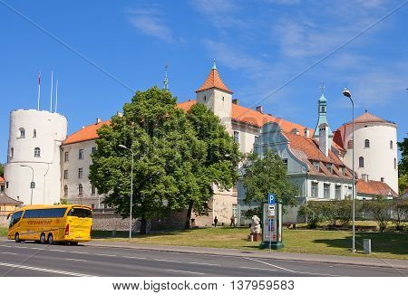 RIGA LATVIA - JUNE 7 2016: Riga Castle in Riga Latvia (UNESCO site). Initially constructed in 1330 for Livonian Order now castle serves as President Palace