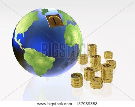 Earth globe as money box on white background, 3D illustration.