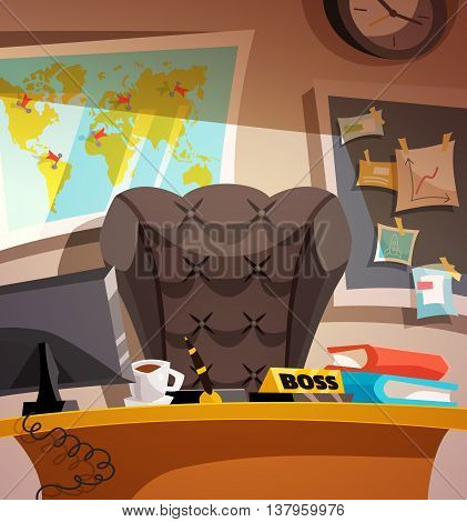 Business workplace with a map. Office interior poster. Boss business room. Background Retro Cartoon Design Vector illustration