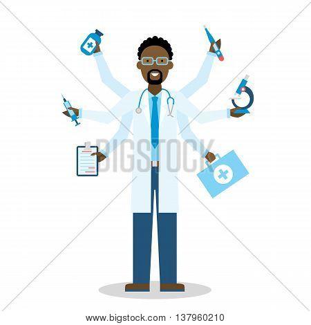african american Multitasking Medical Doctor on white