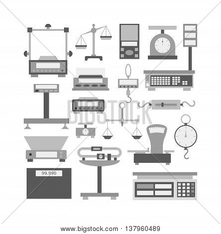 Web icon scales, weigh measurement. Isollated scales weighing equilibrium weight balance. Freedom industry scales icons vector instrument. Scales for technology design