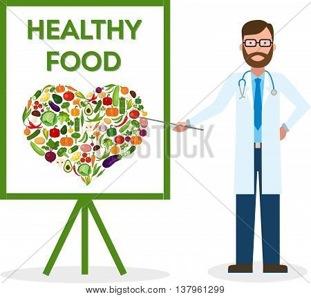 Doctor with healthy food banner. Nutritionist shows how to eat clean and fresh food. Freen vegetables for body. Heart-shaped silhouette.