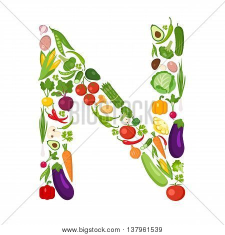 N letter from vegetables. Green alphabet. Fresh green vegetables for healthcare. Healthy diet concept. All vegetables like carrot, onion, tomato, pepper, cucumber, cabbage.
