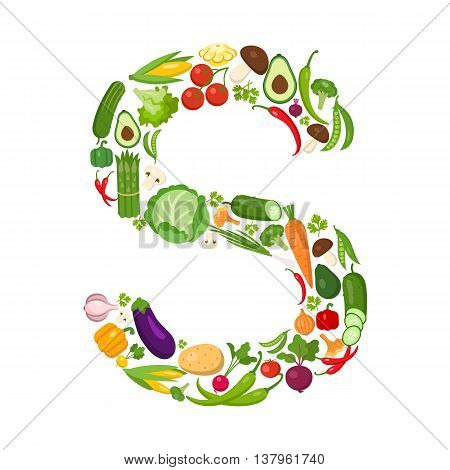 S letter from vegetables. Green alphabet. Fresh green vegetables for healthcare. Healthy diet concept. All vegetables like carrot, onion, tomato, pepper, cucumber, cabbage.
