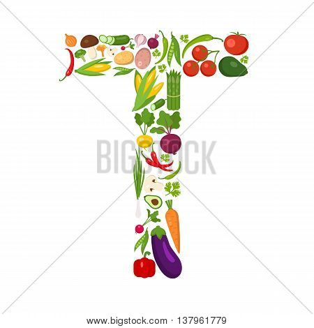 T letter from vegetables. Green alphabet. Fresh green vegetables for healthcare. Healthy diet concept. All vegetables like carrot, onion, tomato, pepper, cucumber, cabbage.