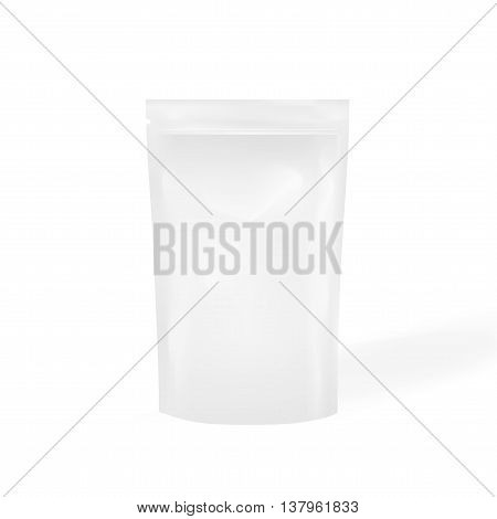 White Blank Foil Food Or Drink Doy Pack Bag Packaging. Illustration Isolated On  Background. Mock Up