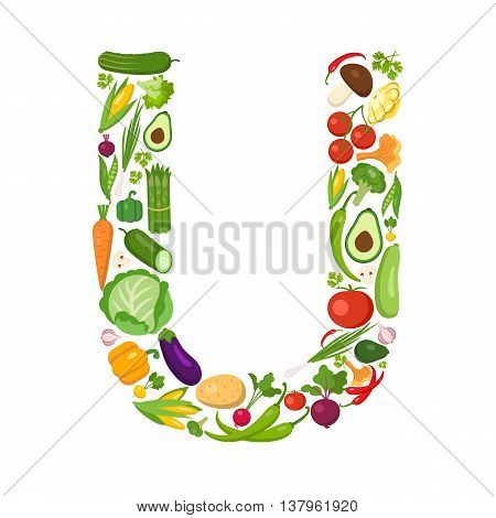 U letter from vegetables. Green alphabet. Fresh green vegetables for healthcare. Healthy diet concept.All vegetables like carrot, onion, tomato, pepper, cucumber, cabbage.