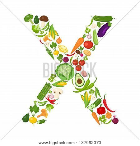 X letter from vegetables. Green alphabet. Fresh green vegetables for healthcare. Healthy diet concept. All vegetables like carrot, onion, tomato, pepper, cucumber, cabbage.