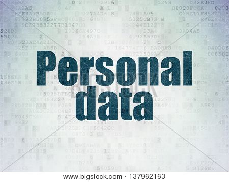 Data concept: Painted blue word Personal Data on Digital Data Paper background