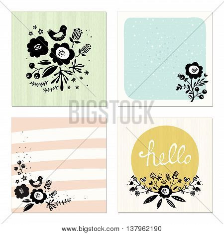 Set of 4 scandinavian floral cards. Good for wedding cards and invitations, anniversary, birthday, party invitations, art posters, greeting cards and invites, journaling cards, planners, diaries, notes and scrapbooking. Vector illustration.