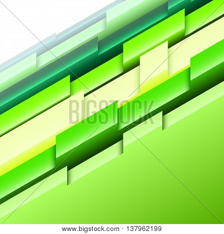 Abstract geometric background with green and yellow three-dimensional shapes. Vector illustration