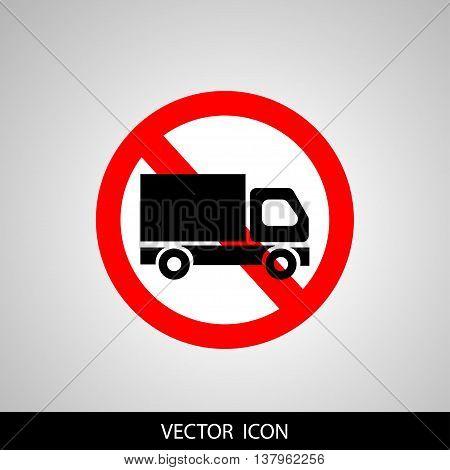 No truck forbidden sign symbol on white background.