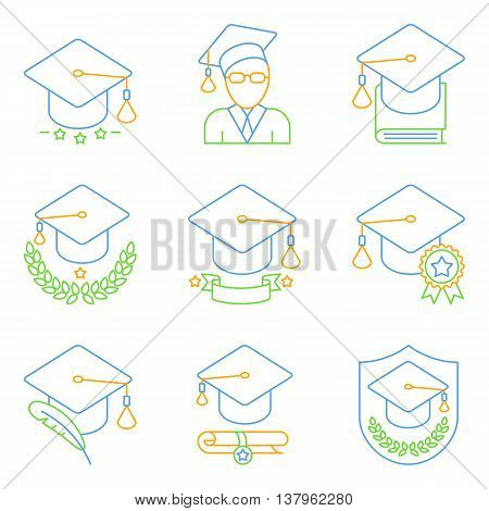 Education and school icons. Set of 9 lined and colored vector icons