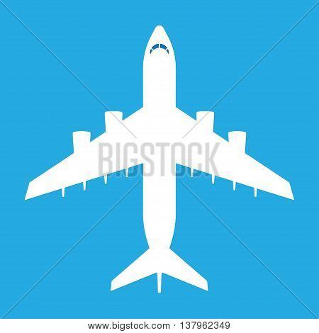 Aircraft symbol. White airplane icon on blue sky background. Vector illustration