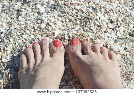 Barefoot Feet On Sand Coast