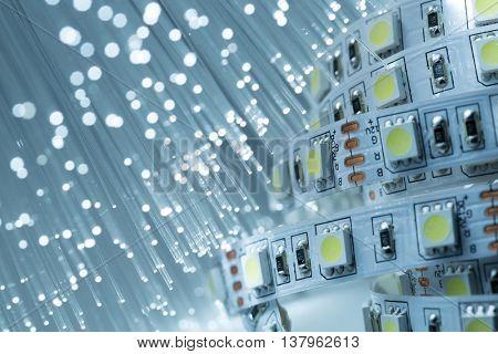 LED strip light and Fiber optics background