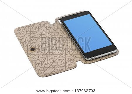 Smartphone in case isolated on white background