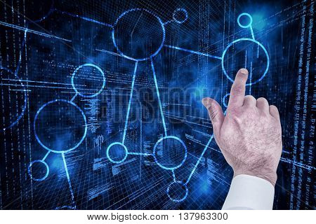 Businessman touching invisible screen against illustration of virtual data