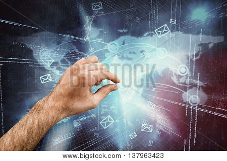 Hand showing against futuristic technology interface