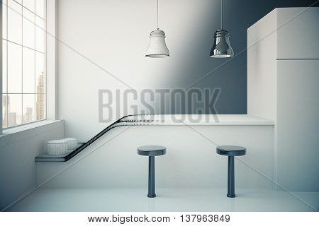 Unfinished grey kitchen interior with fridge countertop two stools cooking pans ceiling lamps and window with city view. 3D Rendering