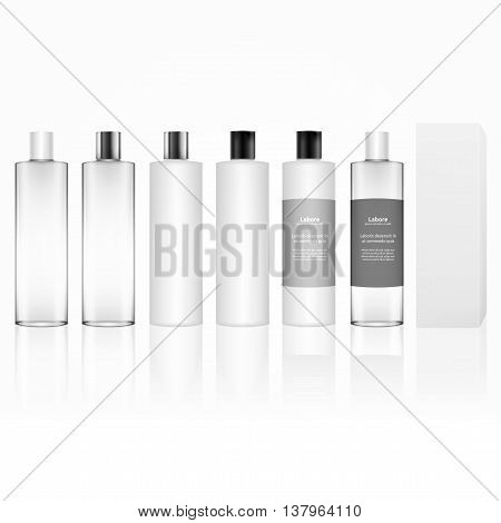Cosmetic plastic bottle isolated on white background. Skin care bottles for gel, liquid, lotion, cream, shampoo, bath foam. Beauty product package, vector illustration.