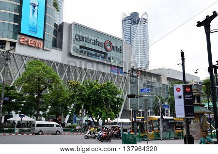 BANGKOK THAILAND- 05 JULY 2016: Front view of Central World Shopping Center. It is a shopping plaza and complex in Bangkok which is the sixth largest shopping complex in the world