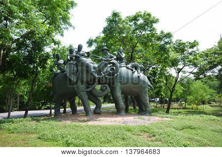 Elephants Monument In Ancient City Museum Near Bangkok