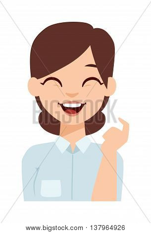 Young happy woman smiling or student happy girl. Smiling woman vector illustration and smiling woman adult beauty person. Healthy smiling woman character and flat smiling woman positive joy face.