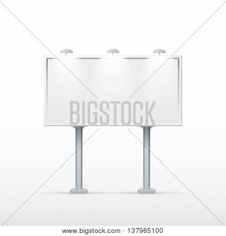 Blank billboard with two legs. Mockup for your advertisement and design. eps10 vector