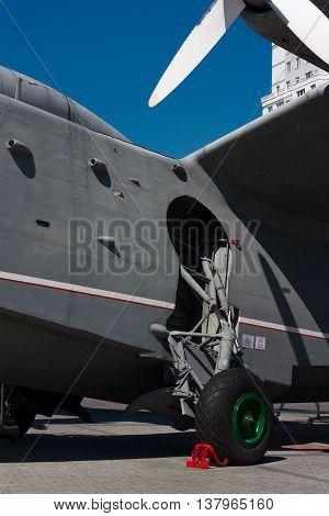 KALININGRAD RUSSIA - June 19: Museum of World ocean outdoor exposition The aircraft-ship BE-12 on June 19 2016 in Kaliningrad Russia