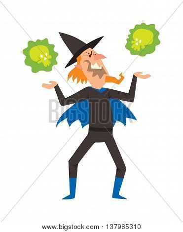Magicians and wizards imagination, wich human performance magician and mystery wizards show. Magicians and wizards illusion show old man imagination, performance character vector.