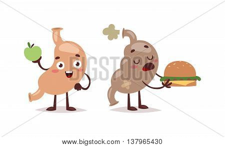 Healthy and unhealthy food vector weight concept. Unhealthy human organ sick stomach healthy and unhealthy food. Diet lifestyle nutrition abdominal distention healthy and unhealthy food.