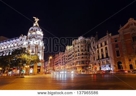 Streets of Madrid Spain at night
